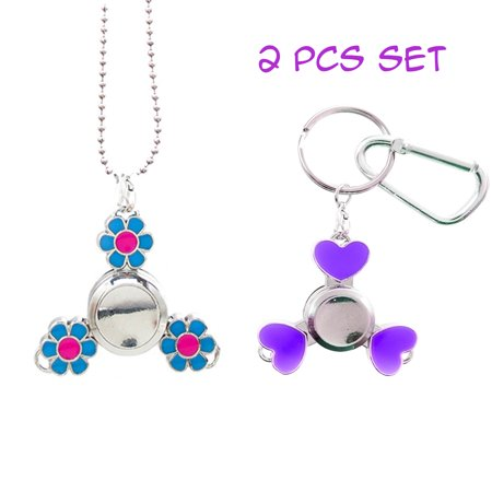 Toys For Autism (FROG SAC 2 PCs Mini Fidget Spinner Necklace and Keychain Pack for Kids - Great Party Favors for Boys Girls - Stress Relief Toys for Adults and Children, 2-3 Min)