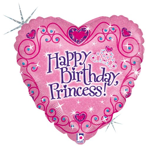 """Betallic Happy B'day Princess Foil Package Balloon, 18"""", Multicolor"""