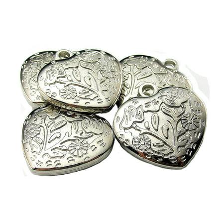 Jewelry Parts DIY Solid Florentine Heart Silver Color 5 Piece Set JP-1