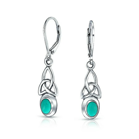 - Celtic Irish Love Knot Work Bezel Set  Enhanced Turquoise Leverback Earrings Dangle 925 Sterling Silver