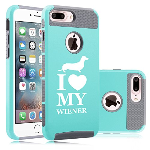 For Apple iPhone (7 Plus) Shockproof Impact Hard Soft Case Cover I Love My w*ener Dachshund (Teal-Gray)