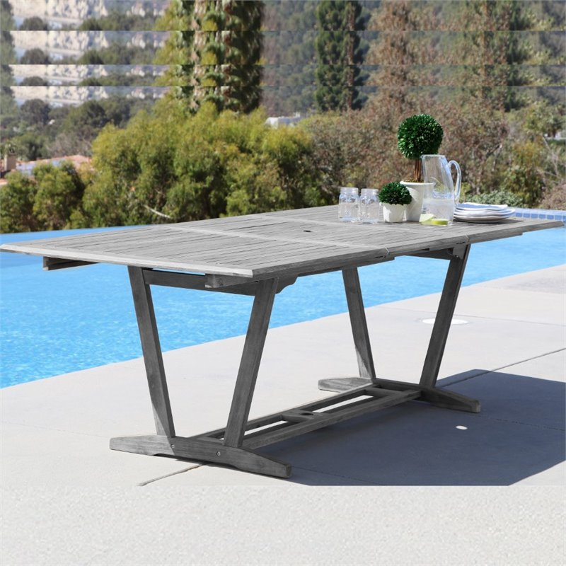 Pemberly Row Extendable Patio Dining Table in Natural