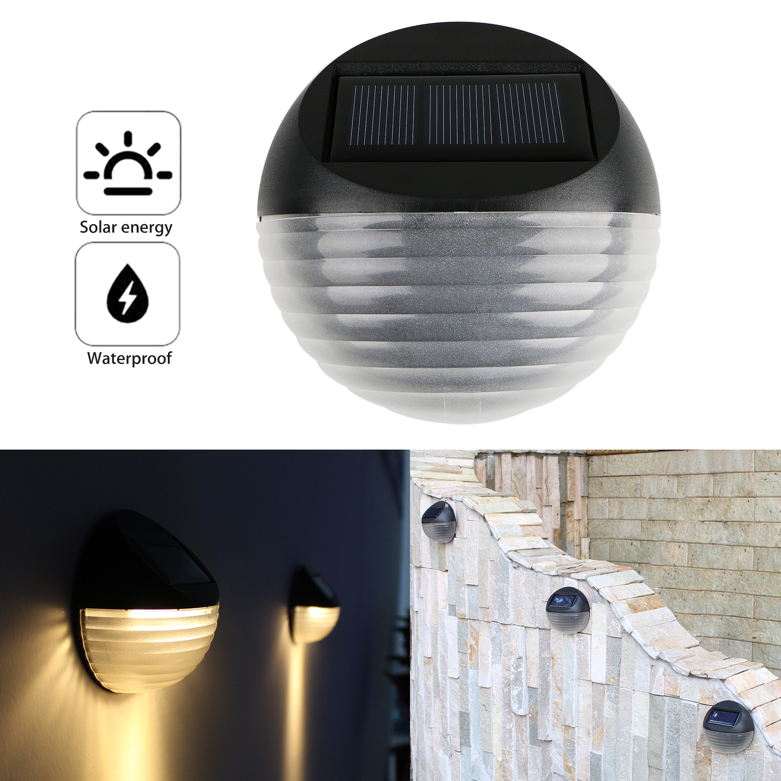 6-LED Super Bright Solar Wall-Mounted Light, IP65 Waterproof LED Garden Solar Wall Light for Outdoor Using, Garden, Outside Wall