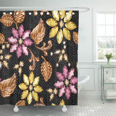 Black And Gold Border (KSADK Jewel of Crystal and Gold on Python Flower Line Border Lacy Abstract Black Shower Curtain Bathroom Curtain 66x72)