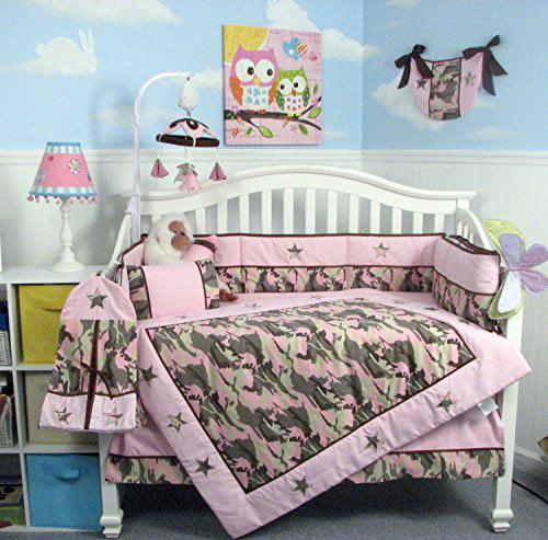 SOHO Pink Camo Baby Crib Nursery Bedding Set