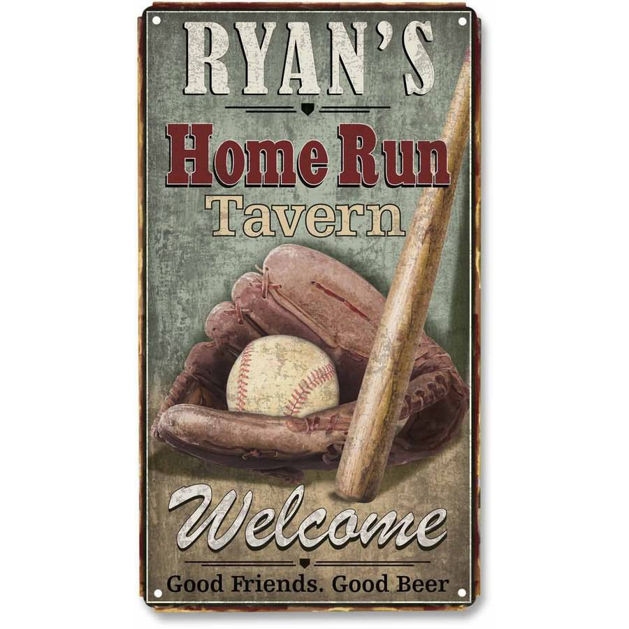 Personalized Home Run Tavern Metal Sign