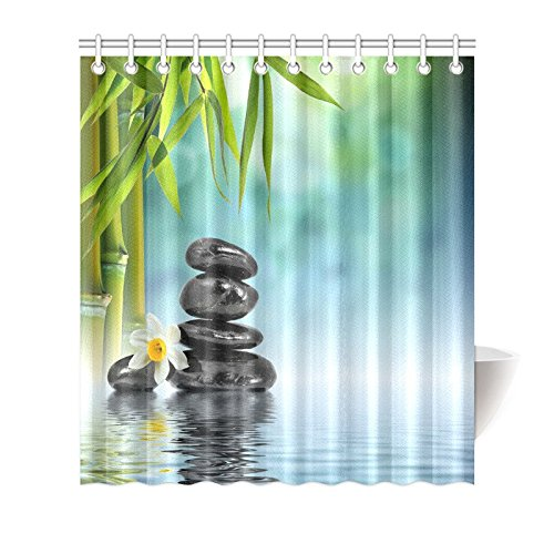 GCKG Chinese Pebble Stones Nature Scene Shower Curtain Hooks 66x72 Inches Green Fabric Zen Underwater In Lake With Bamboo Leaves