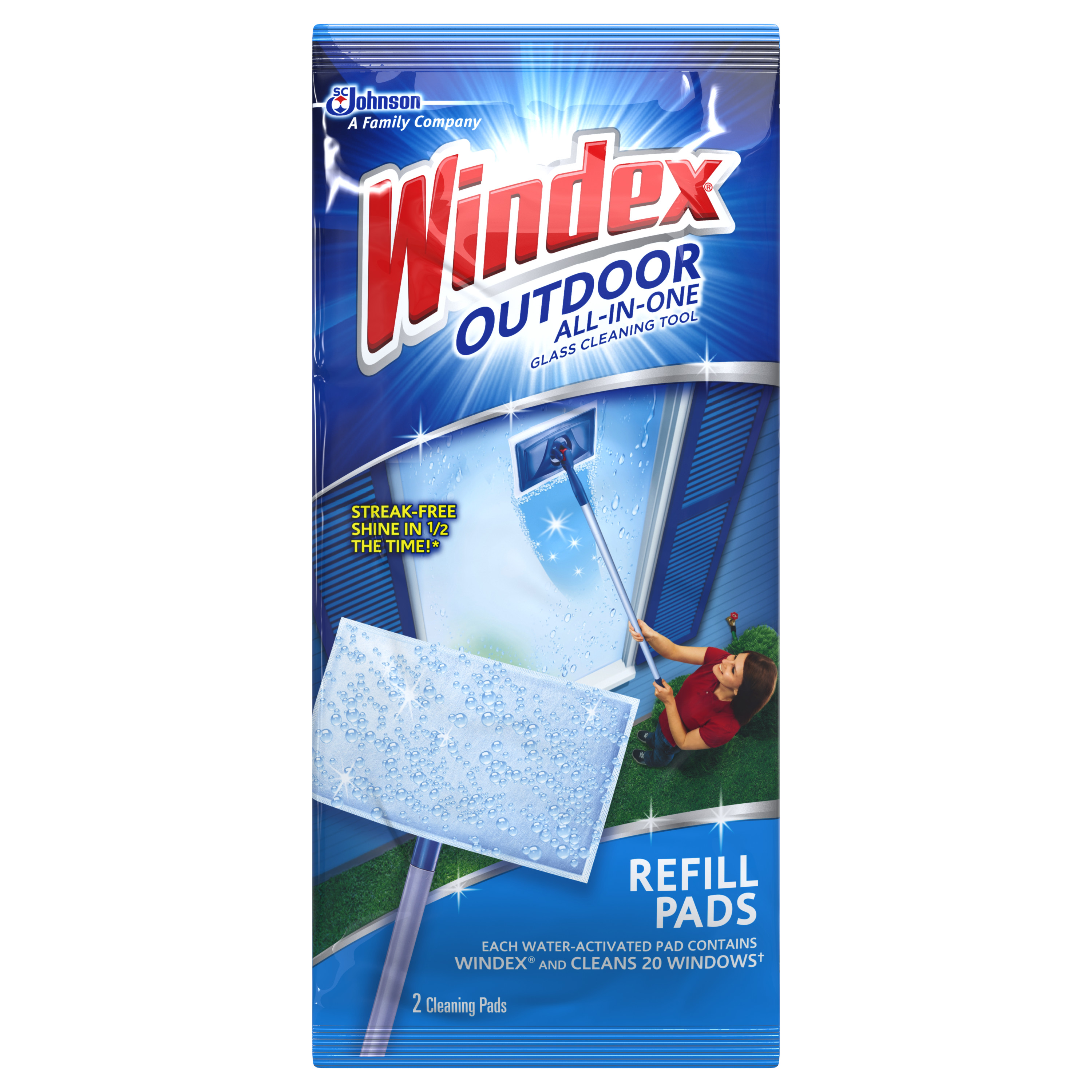 Windex Outdoor All-in One Glass Cleaning Tool Refill 2 count