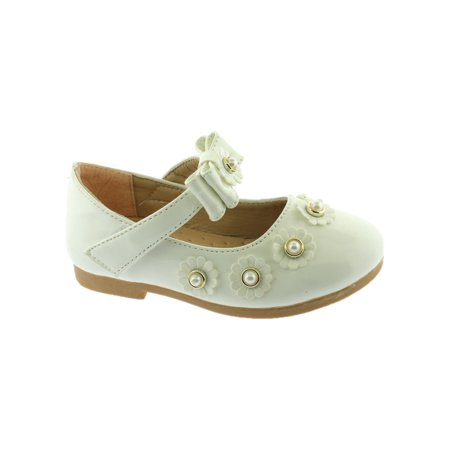 Kate Little Girls White Flower Pearl Bow Strap Mary Jane Shoes