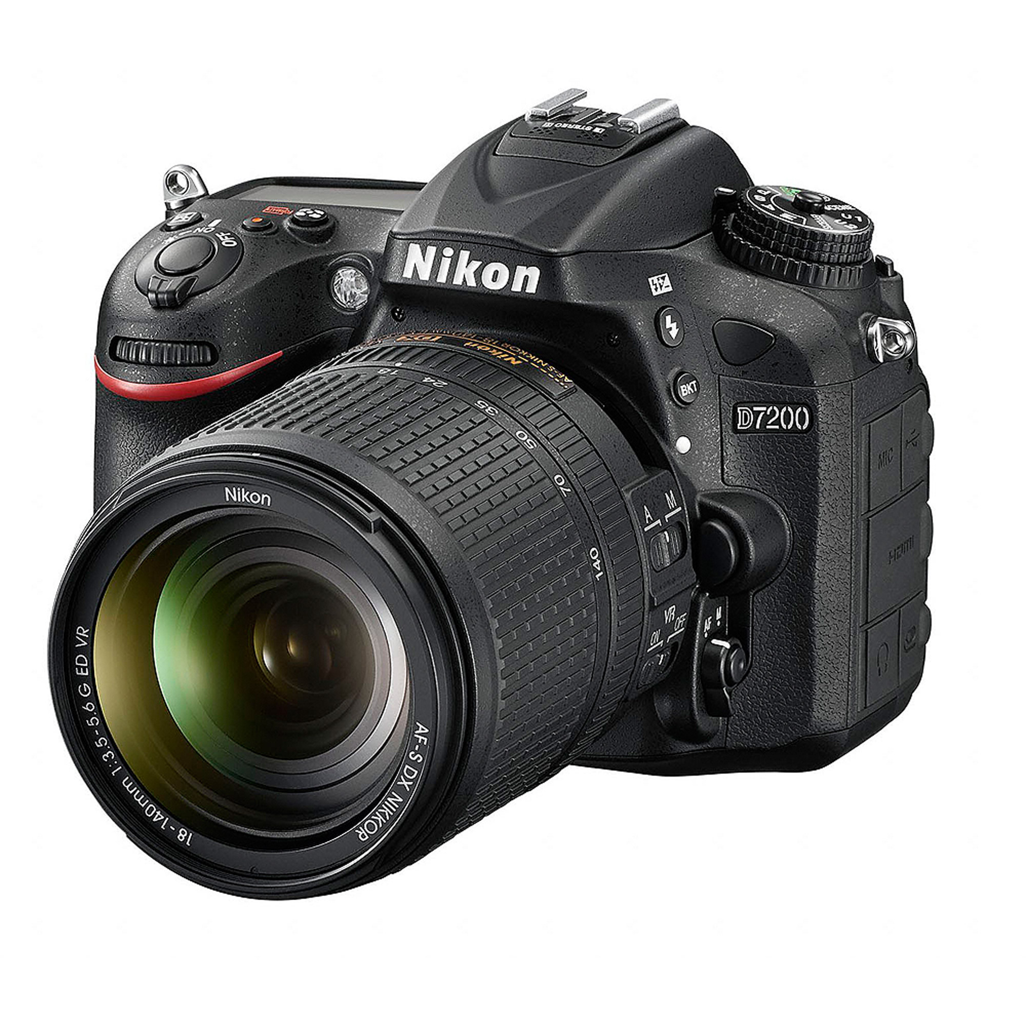 Nikon Black D7200 DX Digital SLR Camera with 24.2 Megapixels and 18-140mm Lens Included