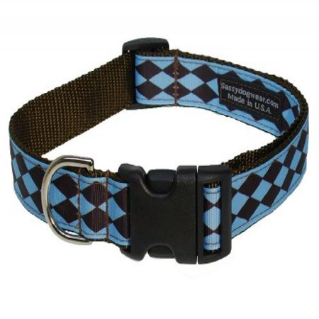 Sassy Dog Wear 18 28 Inch Blue Brown Jester Dog Collar  Large