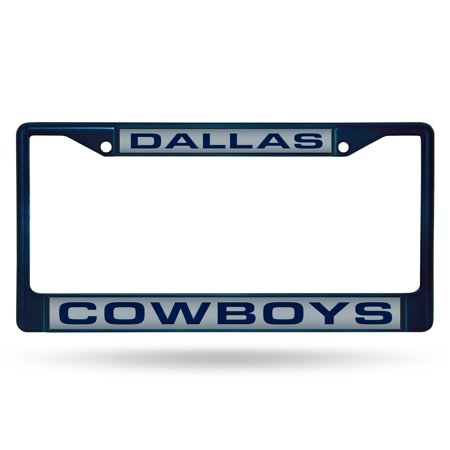 Dallas Cowboys Chrome License Plate Frame with Laser Inserts Chrome Dallas Cowboys Frame