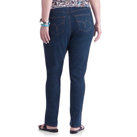 60757a3a4a89f Women s Plus-Size Slimming Classic Fit Straight-Leg Jeans With Tummy ...
