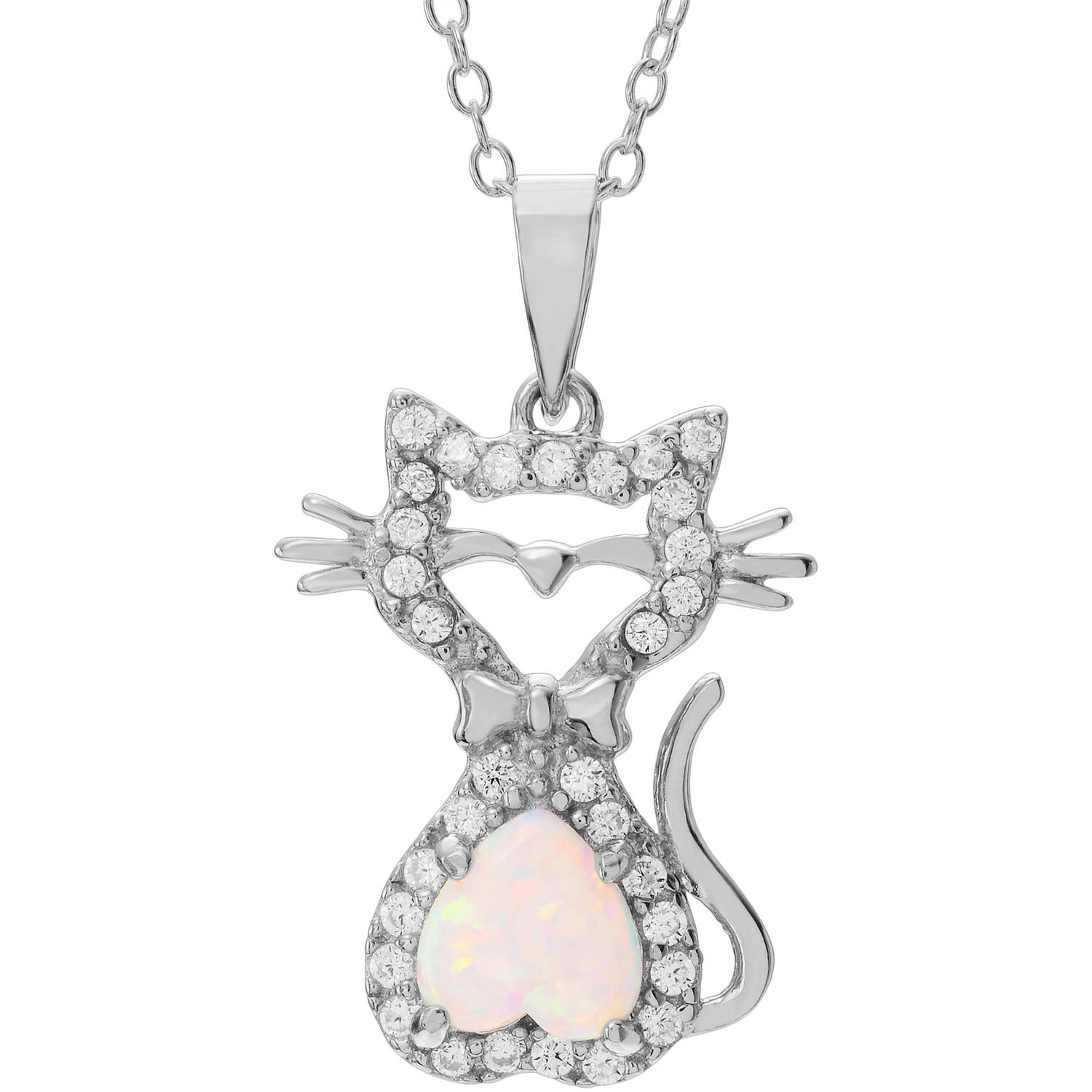 Brinley Co. Women's Opal and Cubic Zirconia Accent Sterling Silver Cat Pendant Fashion Necklace by KNS International
