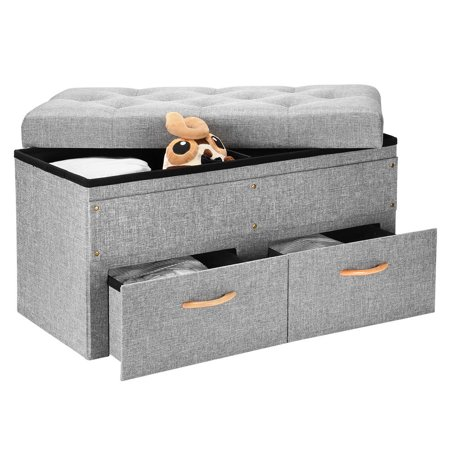 Sortwise Folding Storage Ottoman With Two Large Drawers