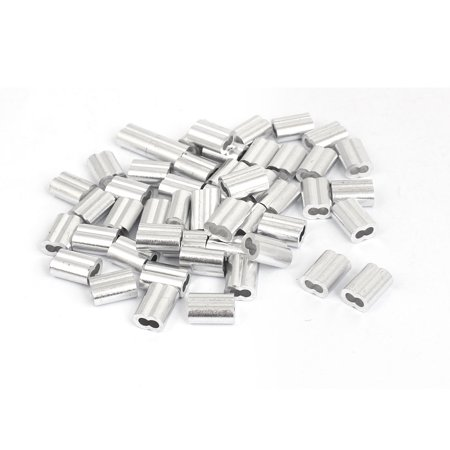 "Unique Bargains 1/8"" Aluminum Sleeves Clip Fittings Loop Sleeve Cable Crimps Wire Rope 50 Pcs"