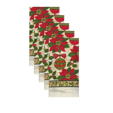 Christmas Towel 5 Pack,  Ornaments and Poinsettia Dishtowels 15 x 25 inches 5 Pack Mini Ornaments