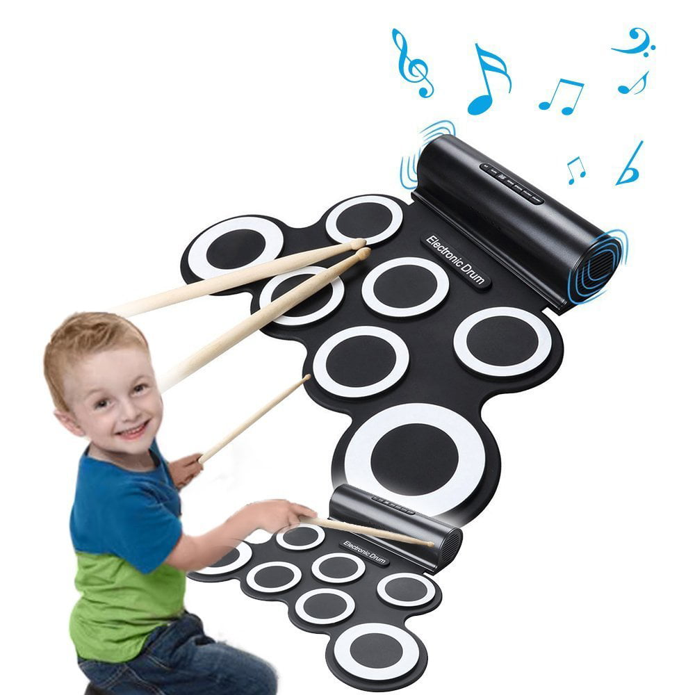 Portable Electronic Roll-Up Drum Kit, Foldable Drum Set Built in Speaker With DrumSticks,... by Besmall