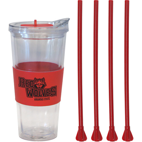 22oz NCAA Arkansas State Red Wolves Straw Tumbler with 4 Colored Replacement Propeller Straws