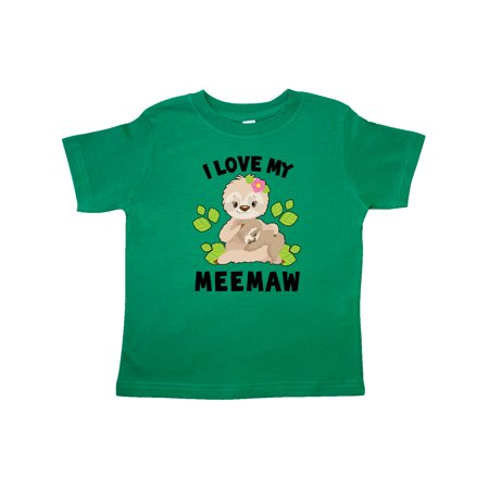 Cute Sloth I Love My Meemaw with Green Leaves Toddler T-Shirt