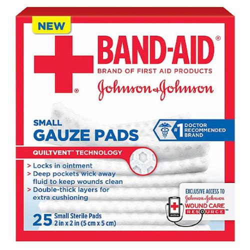 BAND-AID First Aid Gauze Pads, 2 in x 2 in, 25 ea (Pack of 2)