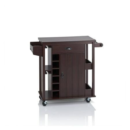 Furniture of America Tissa Espresso Modern Storage Serving Cart