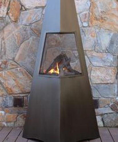 "Buck Stove 72"" Gas Chiminea with Decorative Glass Bronze by Buck Stove"