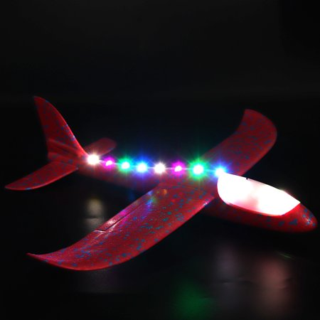 Iuhan Foam Throwing Glider Airplane LED Night Flying Aircraft Toy Airplane Model Gift (Flying Model Toy)