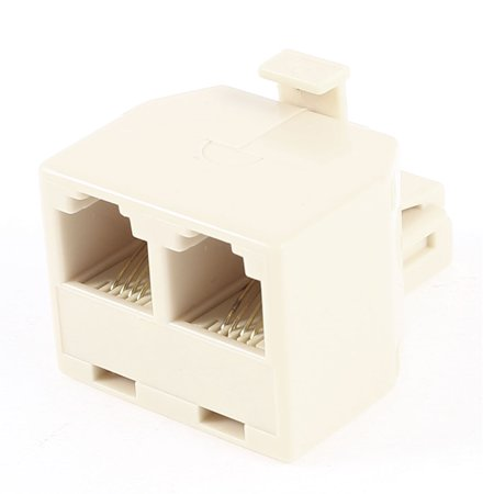 Unique Bargains RJ11 6P4C Single Male to Double Female ADSL Splitter Adapter Beige