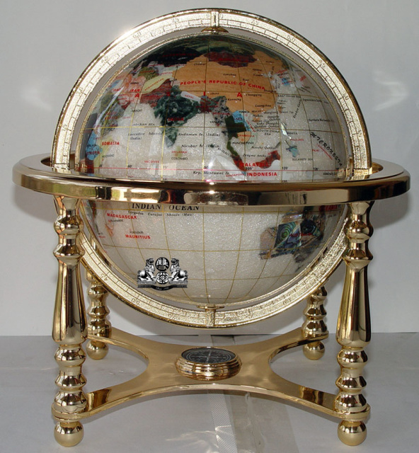 Unique Art 13-Inches Tall Table Top Pearl Swirl Ocean Gemstone World Globe with Gold 4 Legs Stand