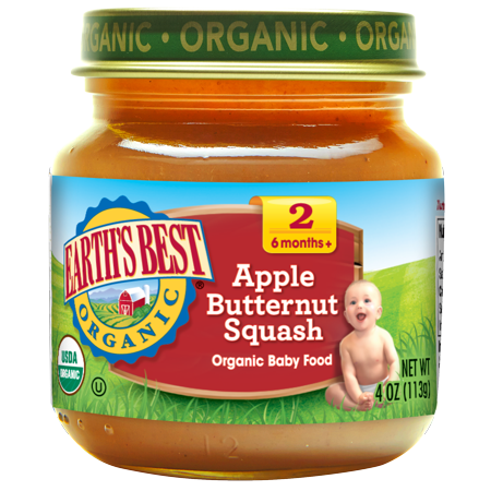 Earths Best Organic Baby Food Stage 2, Apple Butternut Squash, 4 Ounce (Pack