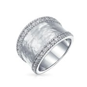 Pave CZ  Fashion Statement Wide Hammered Band Ring for Women for Teen Matte Finish 7MM Silver Rhodium Plated
