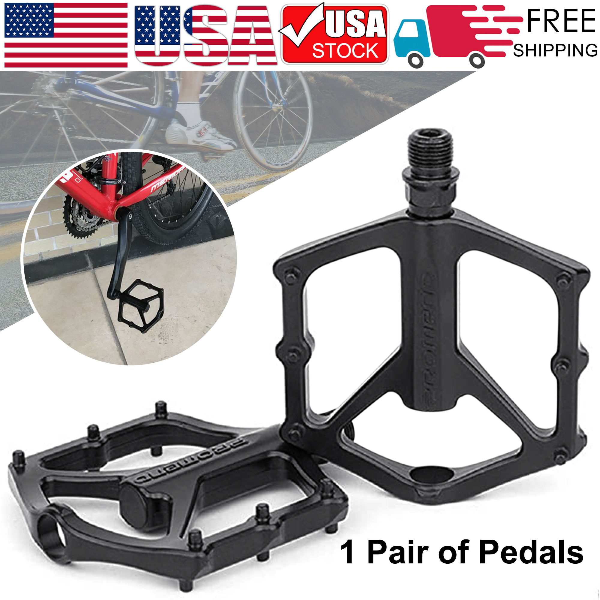 1 PAIR Bicycle Road Mountain Bike Pedals Aluminum Alloy Sealed Bearing Black USA