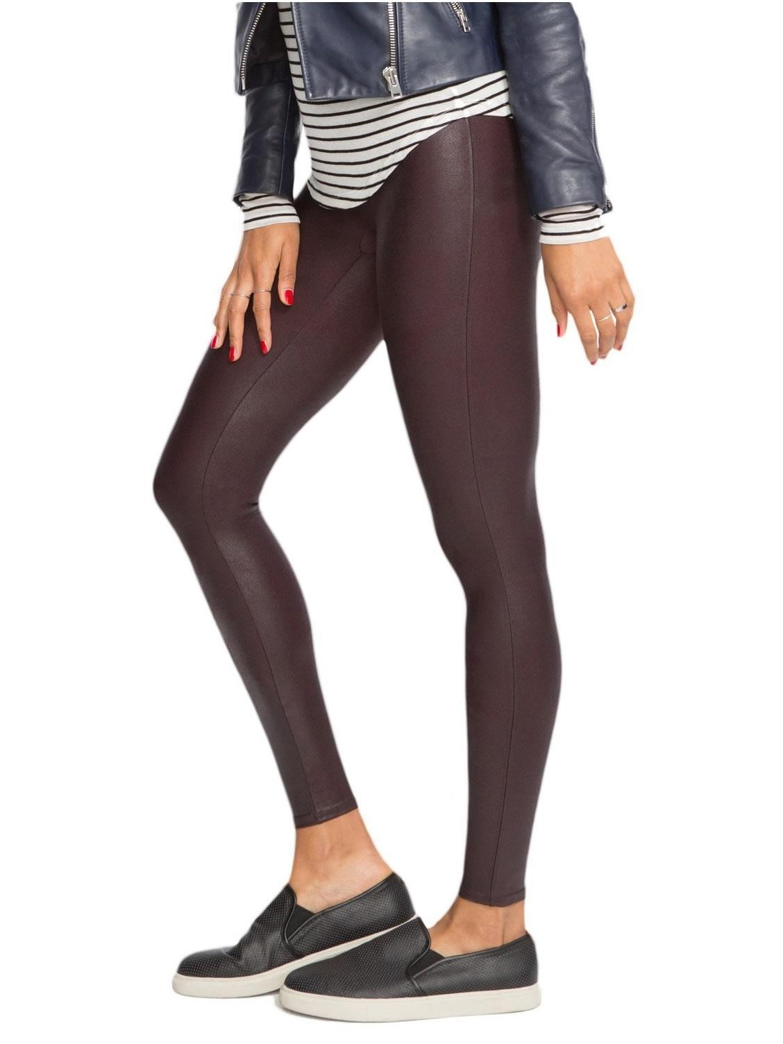 e6562063c49 SPANX - SPANX Ready-to-Wow Faux Leather Shaping Leggings - Walmart.com