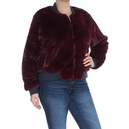 GUESS Womens Burgundy Faux Fur Zip Up Coat  Size: L