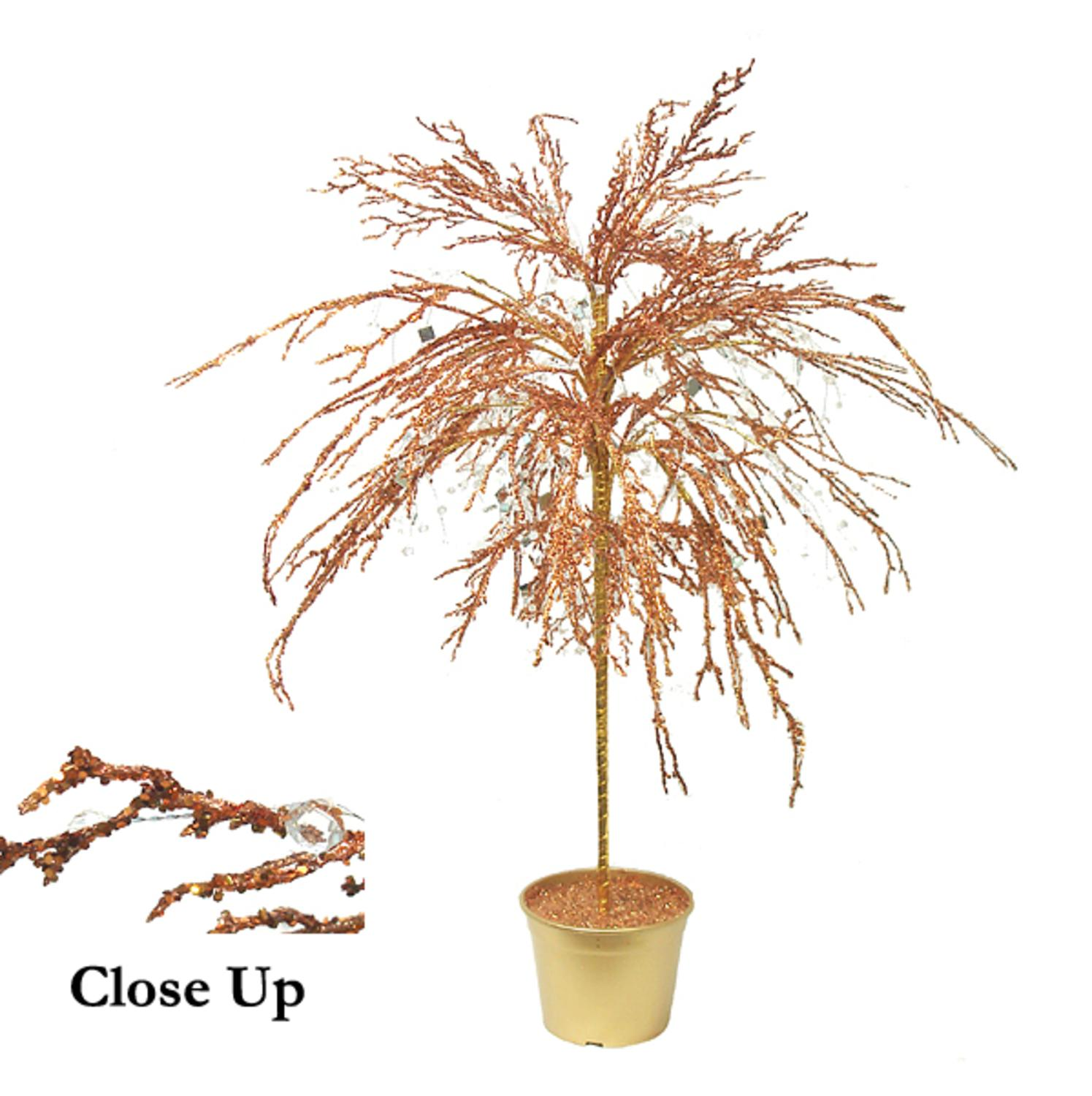 CMI 3.75' Unlit Artificial Christmas Tree Potted Copper Crystallized Glitter Mirrors and Beads