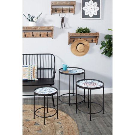Decmode Small Round Blue, Black & White Metal Nesting Accent Tables w/ Floral Patterns, Set of 3