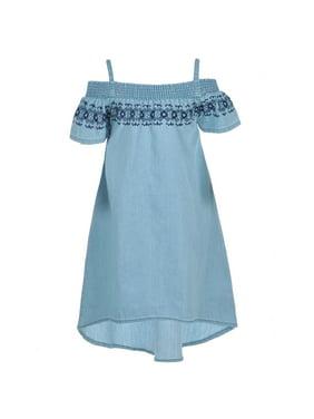 4625bf624bd Product Image Dollhouse Little Girls Blue Off-Shoulder Smocked Panel Hi-Low  Dress