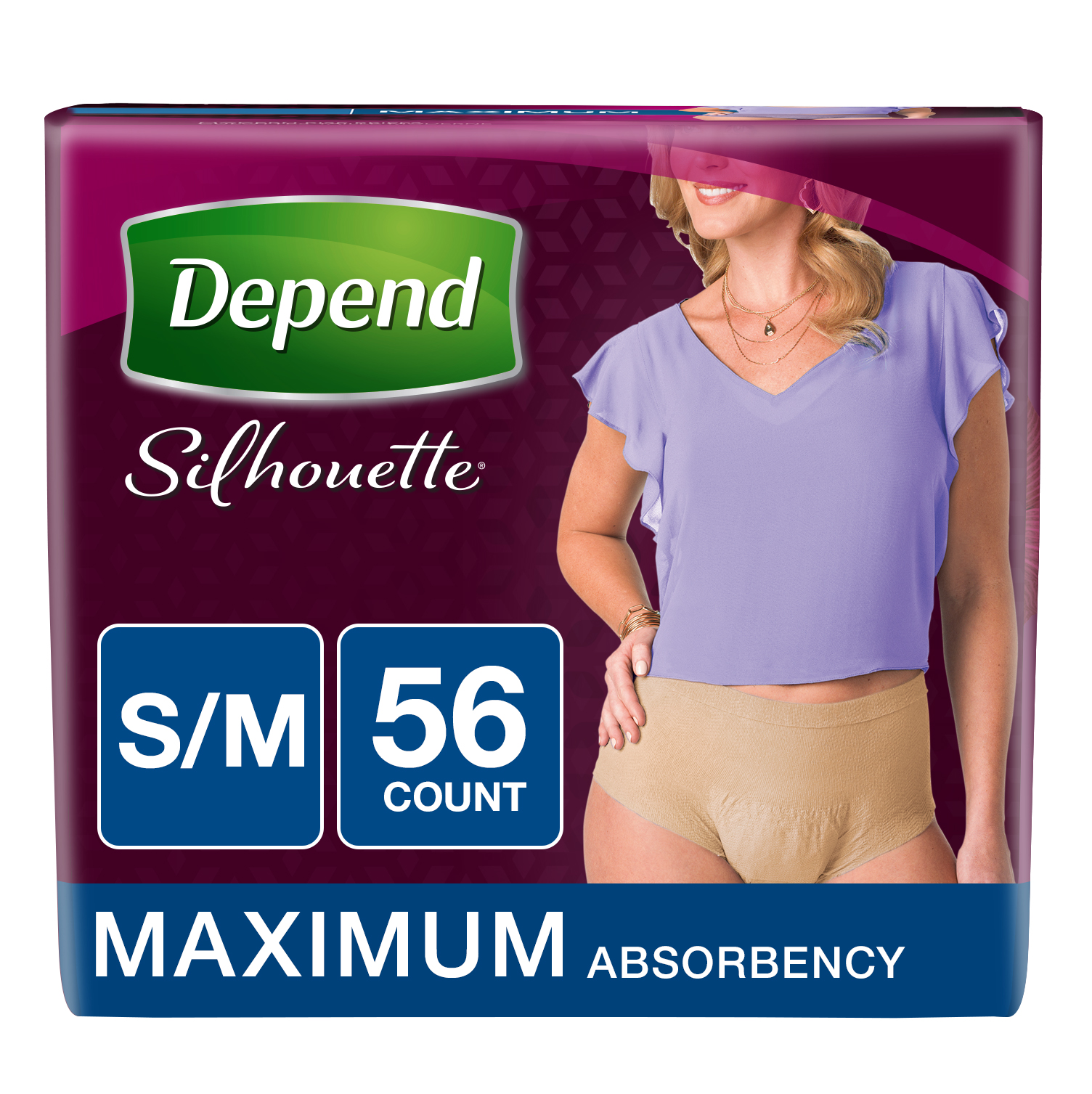 Depend Silhouette Incontinence Underwear for Women, Max Absorbency, S/M, Beige, 56 count