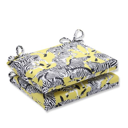 Set Of 2 Zealous Zebras On Yellow Squared Corners Seat Cushion 18 5