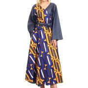 Sakkas Mica Women's Boho Maxi Loose Long Chambray African Wrap Dress with Pockets - 418-Chambray-Blue/yellow - One Size Regular