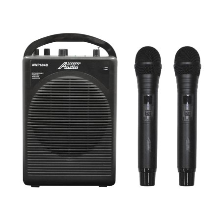 Audio2000 AWP604D 25W Dual Channel Combo Wireless Microphone Battery Powered PA System with Handheld Mics