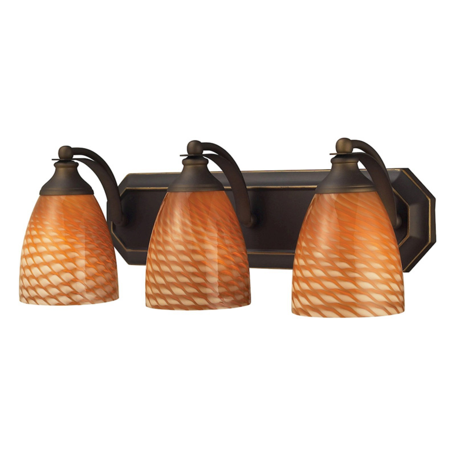 Elk Lighting Bath and Spa 570-3 Bathroom Vanity Light with Cocoa Shades