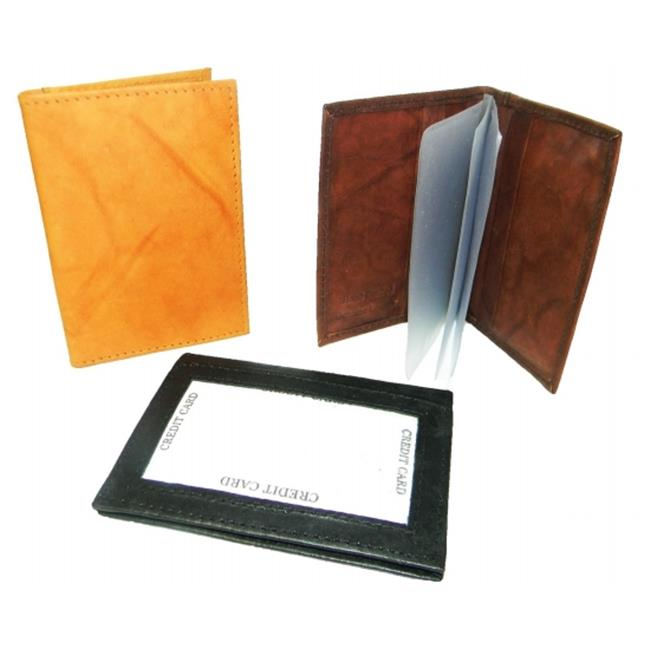 Leather In Chicago CC-98BRN Leather Card Case with Outside Window for Id, brown