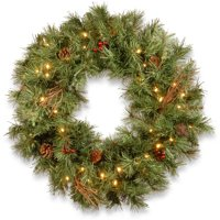 "24"" Glistening Pine Wreath with Battery Operated Warm White LED Lights"