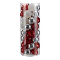 Holiday Time Shatterproof Christmas Tree Ornaments, 50 Count, Red, Silver, and White