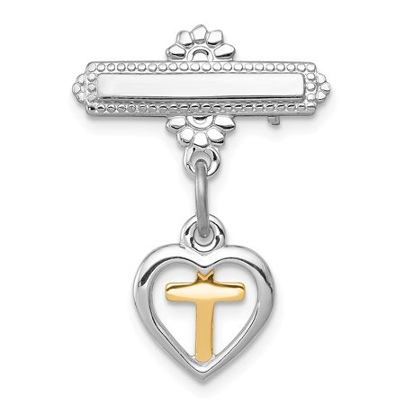 Solid 925 Sterling Silver and Vermeil Cross Pin - 22mm x 18mm