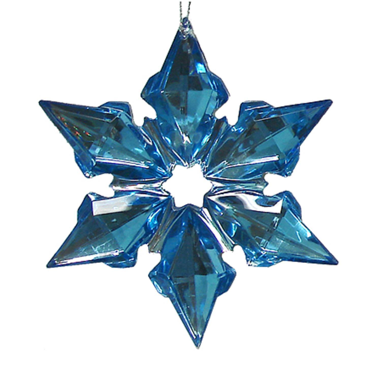 6 point blue gemstone starburst ornament