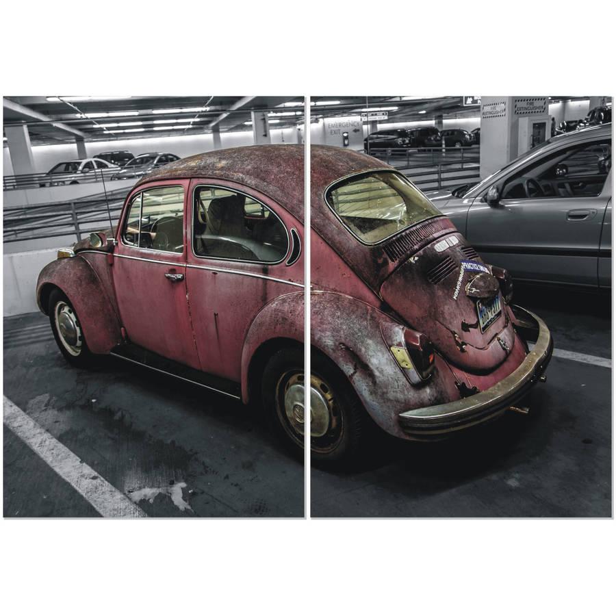 "Furinno Seni Retro Car 2-Panel MDF Framed Photography Triptych Print, 40"" x 27.5"""