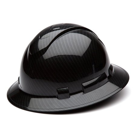 Pyramex Ridgeline Hard Hat Shiny Graphite Pattern Black Full Brim, HP54117S, Color: Shiny Black Graphite Pattern By Pyramex